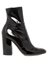 Valentino Block Heel Patent Leather Ankle Boots Black