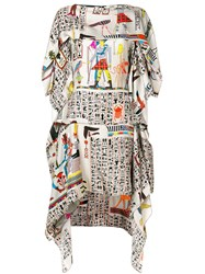 Jean Paul Gaultier Vintage Printed Layered Dress Multicolour