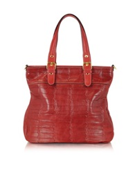 Robe Di Firenze Red Croco Stamped Italian Leather Tote