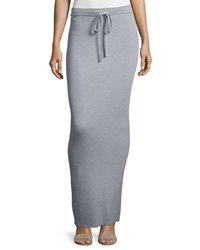 T By Alexander Wang Ribbed Drawstring Maxi Skirt Heather Gray