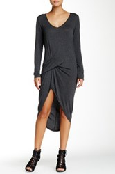Riller And Fount Long Sleeve V Neck Pinched Front Mini Dress Gray