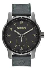 Men's Nixon 'The Patriot' Leather Strap Watch 45Mm