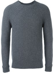 Diesel Black Gold 'Kollision' Ribbed Knit Jumper Grey