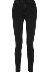 J Brand Carolina Distressed High Rise Skinny Jeans Black