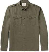 Kent And Curwen Slim Fit Stretch Cotton Twill Shirt Army Green