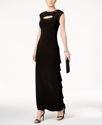 R And M Richards Petite Sequin Cutout Draped Gown Black