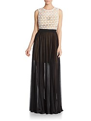 Abs By Allen Schwartz Lace Bodice Pleated Gown Ivory Black