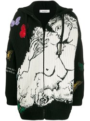 Valentino Embroidered Hooded Cardigan Black
