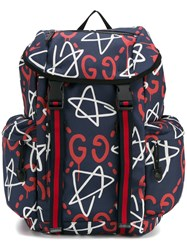Guccighost Logo Backpack Blue