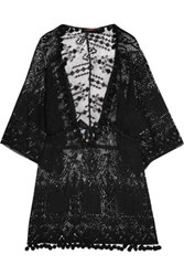 Roberto Cavalli Pompom Embellished Open Knit Coverup Black