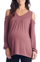 Everly Grey Women's Nora Cold Shoulder Maternity Top Mauve