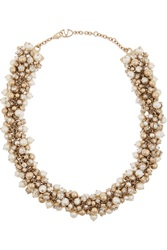 Valentino Gold Tone Faux Pearl And Crystal Chain Necklace White