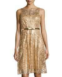 Chetta B Fit And Flare Lace Cocktail Dress Gold