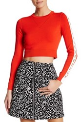 Opening Ceremony Cutout Long Sleeve Crop Blouse Red