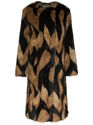 Givenchy Oversized Faux Fur Coat Brown