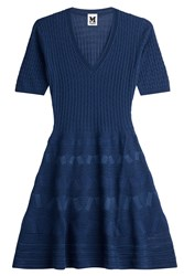 M Missoni Knit Dress With Virgin Wool Blue