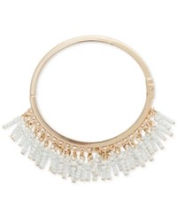 Inc International Concepts Robert Rose For Gold Tone Shaky Beads Hinged Bangle Bracelet Only At Macy's White