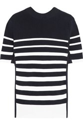 Sacai Lace Up Twill Trimmed Striped Cotton Top Navy