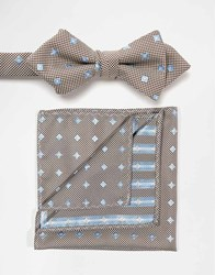 Selected Homme Bow Tie And Pocket Square Set Blue