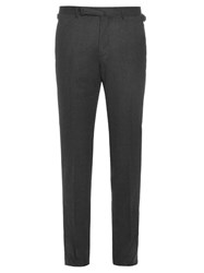 Ermenegildo Zegna Mid Rise Slim Leg Wool Trousers Dark Grey