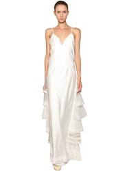 Antonio Marras Silk Satin Dress W Tulle And Lace Details White