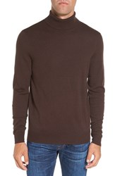 Singer Sargent Men's Honeycomb Texture Wool Blend Turtleneck Sweater Dark Brown