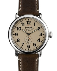 47Mm Runwell Men's Watch Cream Dark Brown Shinola