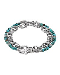 Turquoise With Black Matrix And Chain Wrap Bracelet John Hardy Red