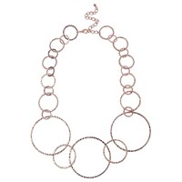 Adele Marie Graduating Textured Hoop Necklace Rose Gold