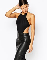 Club L Halter Neck Bodysuit With Cut Outs Black