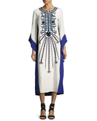 Figue Nala Embroidered Silk Caftan Dress White