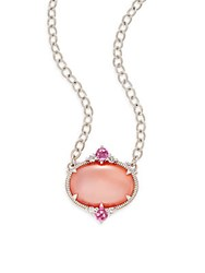 Judith Ripka Allure White Sapphire Rock Crystal Pink Corundum Pink Mother Of Pearl And Sterling Silver Oval Drop Necklace
