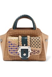 Paula Cademartori Hay Woven Smooth And Laser Cut Leather Tote Brown