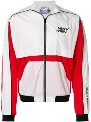 Andrea Crews Colour Block Bomber Jacket White
