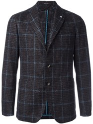 Tagliatore Plaid Single Breasted Blazer Brown