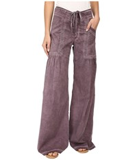 Xcvi Willow Wide Leg Stretch Poplin Pants Oil Wash Plum Women's Casual Pants Brown