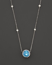 Bloomingdale's Blue Topaz And Diamond Halo Pendant Necklace With 4 Stations In 14K White Gold 16 Blue White