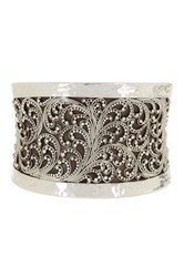 Lois Hill Sterling Silver Tapered Granulated Cuff Bracelet Metallic