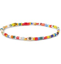 Luis Morais Glass Bead And Gold Bracelet Blue