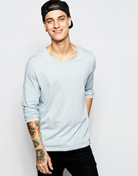 Asos Long Sleeve T Shirt With Scoop Neck In Blue