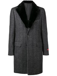 Isaia Single Breasted Coat Grey