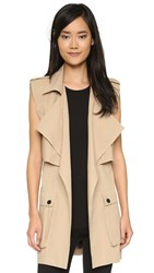 Shakuhachi Sleeveless Trench Coat Stone
