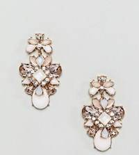True Decadence Pink Cluster Jewelled Earrings Gold