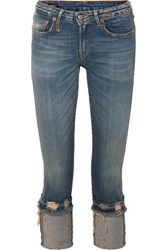 R 13 R13 Kate Cropped Distressed Low Rise Skinny Jeans Mid Denim