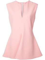 Marni Plunge Peplum Top Pink Purple