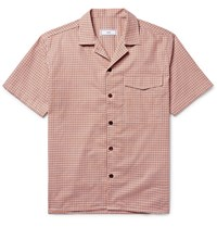 Ami Alexandre Mattiussi Camp Collar Checked Cotton Shirt Orange