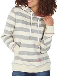 Fat Face Surf's Up Stripe Hoodie Ivory Multi