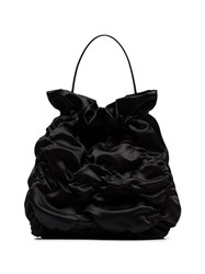 Simone Rocha Ruched Satin Tote Black