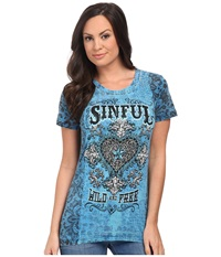 Affliction Copper Canyon Short Sleeve Tee Blue Aster Burnout Wash Women's T Shirt