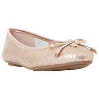 Dune Wide Fit Hype Bow Ballet Pumps Rose Gold